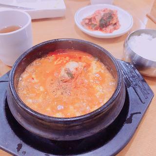 純豆腐チゲ・ライス(韓流館)