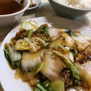 牛肉と野菜のオイスターソース炒め定食(水新菜館 (ミズシンサイカン))
