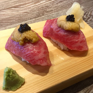 昆布〆炙り握り寿司(A5焼肉&手打ち冷麺 二郎)