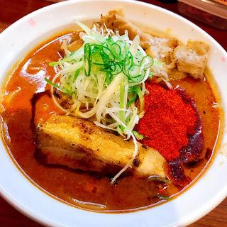 辛口炙り肉ソバ味噌 (辛口炙り肉そば ひるドラ 鶴橋店)