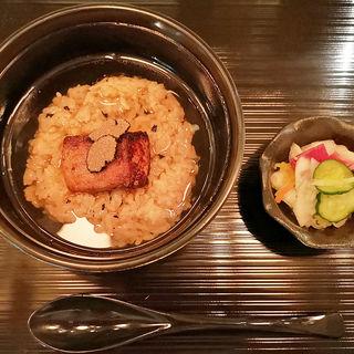 トリュフご飯のフォアグラ茶漬け 三浦野菜のお漬物(HY TOKYO)