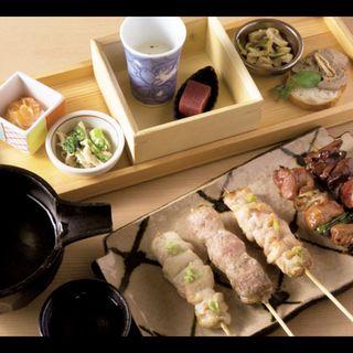東京軍鶏焼鶏5本セット(前菜6点盛り、焼鶏5種)
