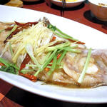 麻香蒸魚(舌平目の香味蒸し)