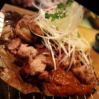 鴨の朴葉焼き(藁焼  みかん)