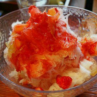 かき氷 いちごとオレンジ グランマルニエ付