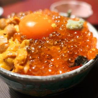 痛風丼(泳ぎいか・ふぐ・いわし・大阪懐石料理・遊食遊膳 笹庵 (ささあん))