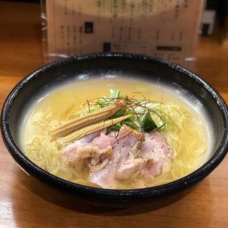すだちと阿波尾鶏たたき冷やし(醤油と貝と麺 そして人と夢 )