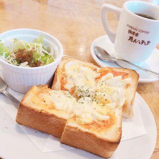 玉子のピザトーストモーニング(珈専舎たんぽぽ (こうせんしゃ たんぽぽ))