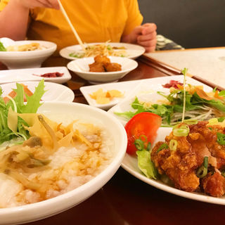中華粥&檸檬鶏のセット(風龍 (FOOLONG))