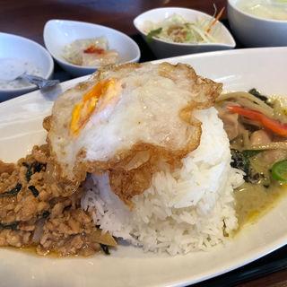 SET-1:鶏ひき肉のバジル炒め & グリーンカレー