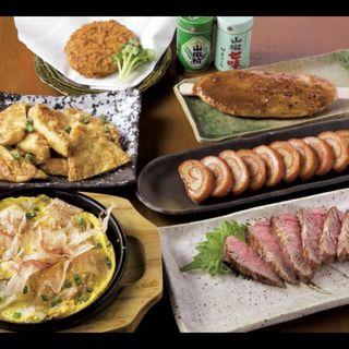 飛騨牛コロッケ、五平餅、本日のおすすめ(あげづけ)、赤巻きかまぼこ、漬け物ステーキ、飛騨牛ステーキ(飛騨居酒屋 蔵助 )
