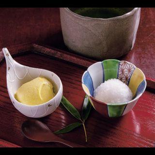 【甘味】かぼちゃの豆乳よせと梅シャーベット、お抹茶(銀座うち山)