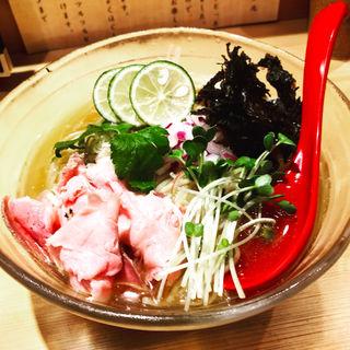 秋刀魚と鮪の冷やしそば