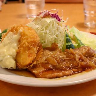 豚肉の生姜焼とカニコロッケのセット(レストラン シラツユ (SHIRATUYU))