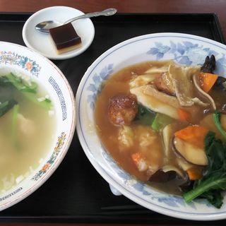 しいたけ丼+ワンタンスープ(長城)