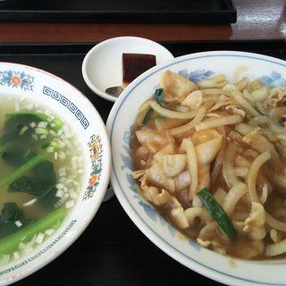 生姜焼き丼+ワンタンスープ(長城)