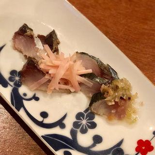 炙りしめ鯖 新生姜とミョウガ添え(コノ花まひろ )