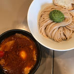 海老トマト 肉と玉子入りつけ麺