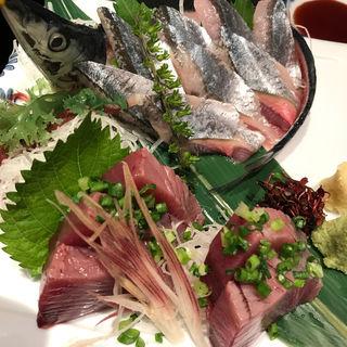 新サンマと鰹の刺身(味の上田 魚河岸料理)