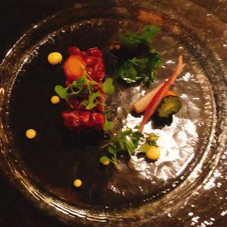 十勝ハーブ牛の生ハム  タルタルステーキ風(カフェ カリフォルニア )