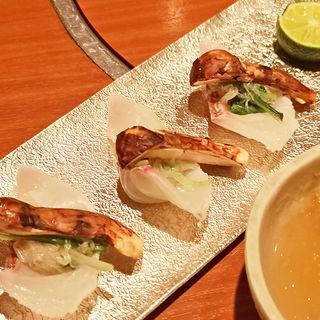 焼松茸と真鯛のしゃぶしゃぶ(冷)