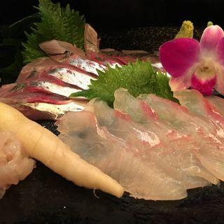 アジとヒラメの刺身(波菜舎)