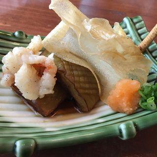 揚物・米茄子揚げ・海老せんべい・カンナ芋(あかま)