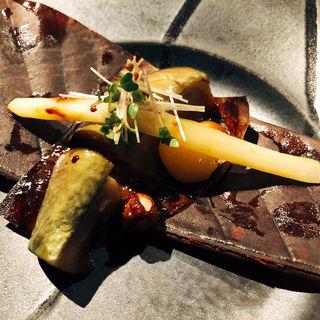 秋茄子の朴葉味噌焼き