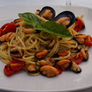 ムール貝とラルドのスパゲッティ