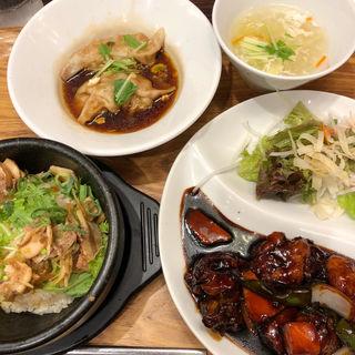 鶏の黒酢炒め&石焼炒飯セット