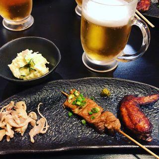 ポテサラ&新作2品とビール(焼鳥はなび)