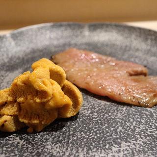 雲丹とカマトロ炙り(鮨あらい )