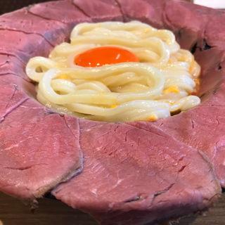 蛍池名物!肉釜玉うどん(マルヨシ製麺所)