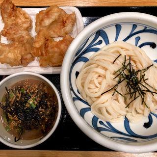 肉つけ麺 + とり天(手打ちうどん うえだ )