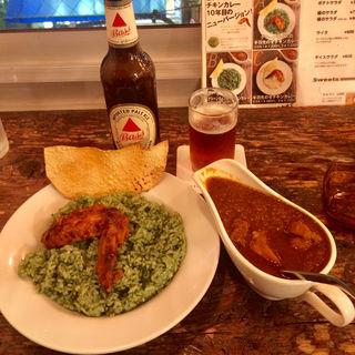 グリーンライスの手羽先のせチキンカレー(cafe HINATA-YA (ヒナタ屋))