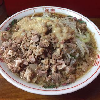 小ラーメン アブラまし ニンニク少なめ こま切れ肉トッピング(ザ・ラーメンスモールアックス )