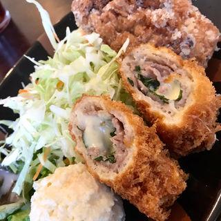 豚ロール&唐揚げ定食(ラフラフ (OKIRAKU DINING Laugh Rough))