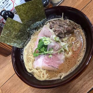 濃厚牛テールスープラーメン 味噌 牛テール肉トッピング 細麺 大盛り(牛テールラーメン たけめん)