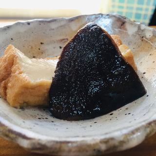 自家栽培椎茸と厚揚の煮しめ(天然鮎の塩焼き定食)
