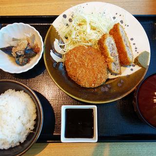 粗挽きメンチカツ定食(博多もつ鍋 やまや 月庭 西中洲店)