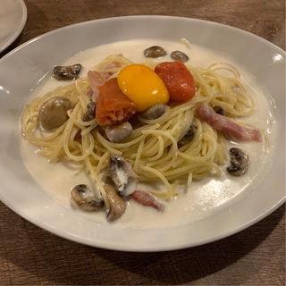 ふくや明太子のカルボナーラハーフ(イタリアンカフェ&レストランBAMBINO)