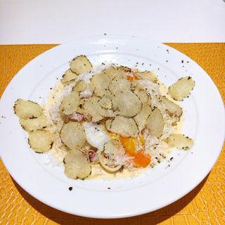 トリュフと温度卵の冷製カルボナーラ(麺匠 パスタバカ一代 )