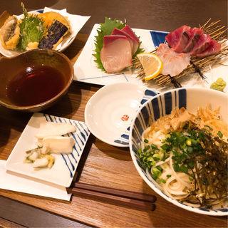 刺身(三点盛)定食 冷うどんセット(バラモン食堂 )