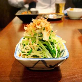 水菜とエノキのおひたし(大衆酒場 チャン栓チャン)