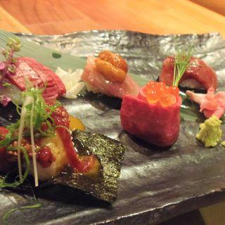 おおいた和牛・究極の肉寿司コース(肉 炉ばた BECO )
