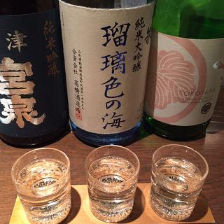 日本酒3種飲み比べ(ぽんしゅや三徳六味)