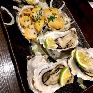 焼き牡蠣と鮑バター(旬味旬菜 大和)
