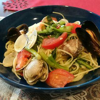 アサリとアスパラ菜のペペロンチーノ