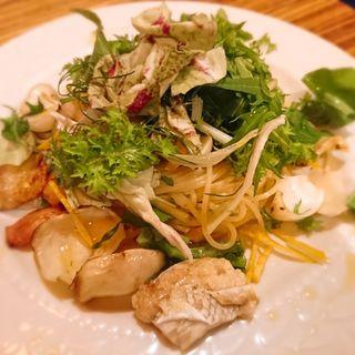 鯛と百合根と柚子のペペロンチーノ(cafe unji)