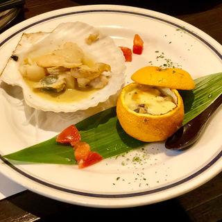 ホタテのバター焼き サーモンの柚子釜グラタン(旬味旬菜 大和)